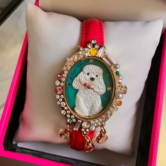 Betsey Johnson Accessories - Betsey Johnson Poodle 3d Pearl Stone Crystal Watch